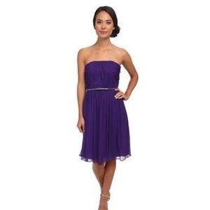 Donna Morgan chiffon strapless dress (grape)